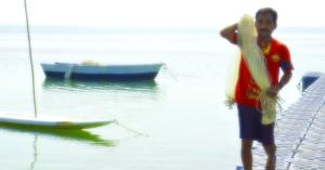 pescador con red
